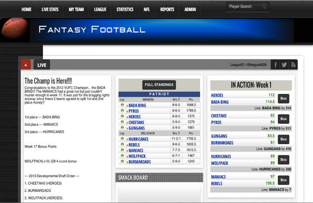 Create your own online Fantasy Football League
