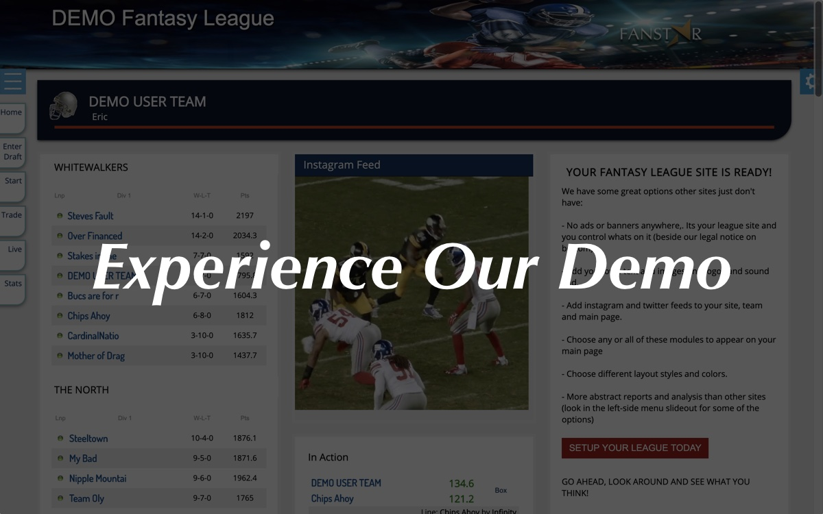 Fantasy Football League Main Page One